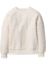 Sweatshirt mit Herzchenmuster, bpc bonprix collection, wollweiß