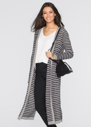 Long-Strickjacke, BODYFLIRT, grau/schwarz gestreift