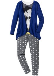Shirt, Cardigan + Leggings (3-tlg. Set), bpc bonprix collection, wollweiß/blau/grau bedruckt