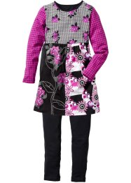Outfit (2-tlg. Set), bpc bonprix collection, schwarz/veilchenlila allover