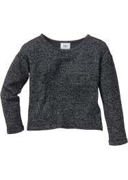 Oversize Strickpullover, bpc bonprix collection, anthrazit meliert/wollweiß meliert