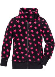 Fleece-Jacke, bpc bonprix collection, schwarz/dunkelpink allover Sterne