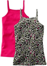 Top im 2er-Pack, bpc bonprix collection, leopard/dunkelpink