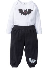 Baby Halloween Body + Shirthose (2-tlg. Set) Bio-Baumwolle, bpc bonprix collection, weiß/schwarz