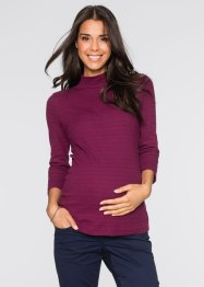 Umstandsshirt mit Mini-Turtleneck, 3/4-Arm, bpc bonprix collection, beere/dunkelblau gestreift