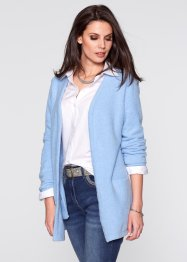 Long-Strickjacke ohne Verschluss, bpc selection, eisblau