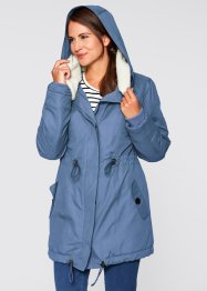 Long-Winterjacke mit Teddykragen, bpc bonprix collection, jeansblau