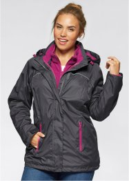 3-in-1-Funktions-Outdoorjacke, bpc bonprix collection, anthrazit/violettorchidee