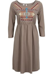 Shirtkleid mit Stickerei, RAINBOW, taupe/bunt
