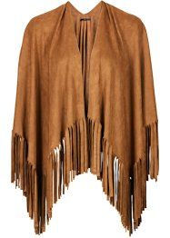 Poncho mit Fransen, bpc bonprix collection, cognac