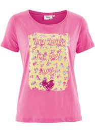 Kurzarm-Shirt, bpc bonprix collection, flamingopink bedruckt