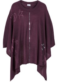 Strickponcho mit Pailletten + Druck, bpc bonprix collection, aubergine