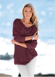 Long-Pullover mit Spitze, bpc selection, ahornrot