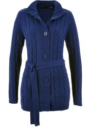 Long-Strickjacke mit Zopfmuster, bpc selection, mitternachtsblau