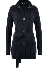 Long-Strickjacke mit Zopfmuster, bpc selection, schwarz