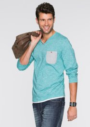 Langarmshirt mit V-Ausschnitt Regular Fit, bpc bonprix collection, smaragd