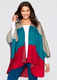 Strick-Poncho, bpc bonprix collection, dunkelrot gemustert