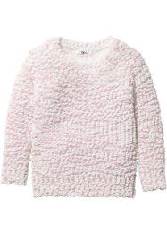 Pullover aus Popcorn Strick, bpc bonprix collection, zartrosa/wollweiß