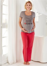 Still-Pyjama, bpc bonprix collection, graumelange/rot