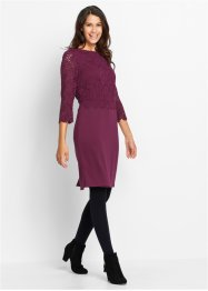 Kleid mit Spitze, 3/4 Arm, bpc bonprix collection, beere