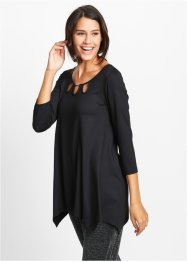 Shirt-Tunika, 3/4-Arm, bpc bonprix collection, schwarz