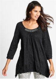 Chrash-Shirt-Tunika, 3/4-Arm, bpc bonprix collection, schwarz