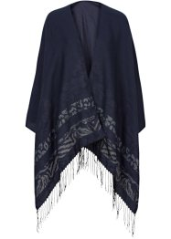Poncho mit Muster, bpc bonprix collection, blau/silber