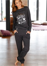 Pyjama, bpc bonprix collection, anthrazit meliert/silber bedruckt