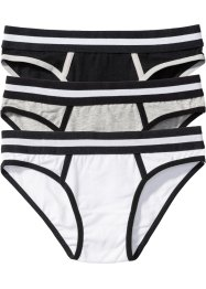 Panty (3er-Pack), bpc bonprix collection, hellgrau meliert/schwarz/weiß