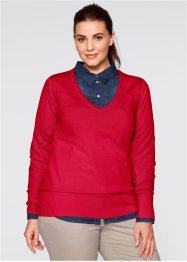 Basic Feinstrick-Pullover, bpc bonprix collection, dunkelrot