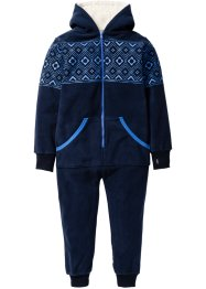 Fleece Overall mit Kapuze, bpc bonprix collection, dunkelblau/gletscherblau