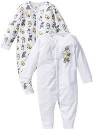 Baby Overall (2er-Pack) Bio-Baumwolle, bpc bonprix collection, weiß/neutralgrau