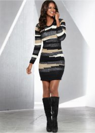 Strickkleid, BODYFLIRT boutique, hellgrau/schwarz