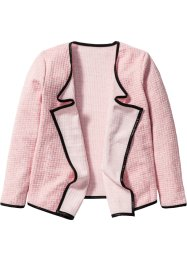 Drapierter Cardigan, bpc bonprix collection, rosa/wollweiß meliert