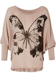 Camiseta oversized, rosa antigo estampado