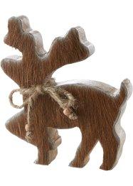 Deko-Figur Elch aus Holz mit Kuhfell, bpc living bonprix collection