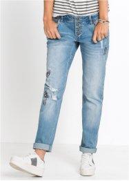 Boyfriend-Jeans mit Badges, RAINBOW