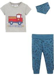 Baby T-Shirt+ Hose + Dreieckstuch (3-tlg. Set) Bio-Baumwolle, bpc bonprix collection