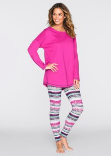 Pyjama, bpc bonprix collection, fuchsia/türkis gemustert