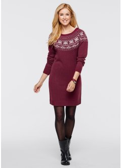 Strickkleid, bpc bonprix collection, bordeaux gemustert
