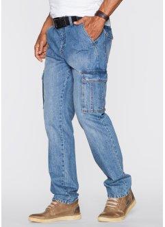 Cargo-Jeans Regular Fit Straight, John Baner JEANSWEAR, mittelblau