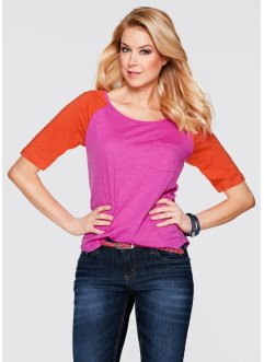 T-shirt demi-manches, bpc bonprix collection, fuchsia/orange sanguine