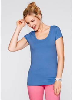 Basic Baumwollshirt Stretch-Jersey, bpc bonprix collection, himmelblau