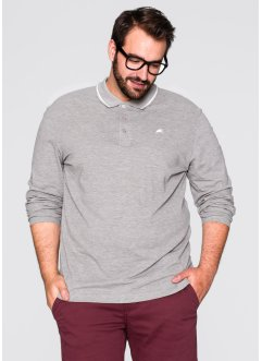 Herren Langarm-Poloshirt, Regular Fit, bpc bonprix collection, hellgrau meliert