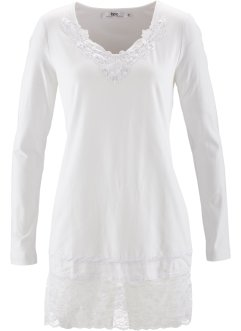 Langärmliges Longshirt, bpc bonprix collection, weiß
