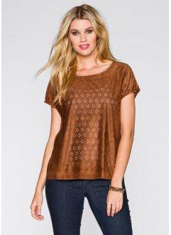 Blusen-Shirt aus authentischem Lederimitat, RAINBOW, sattbraun