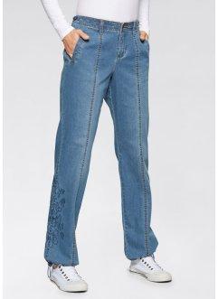 Stretch-Jeans mit Stickerei, WIDE, John Baner JEANSWEAR, mittelblau