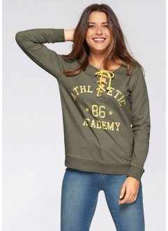 Bedrucktes Sweatshirt mit langen Ärmeln, John Baner JEANSWEAR, oliv