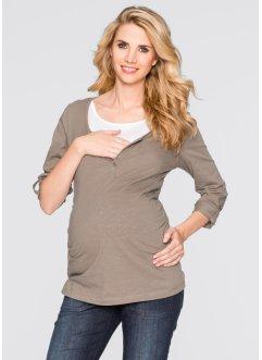 Stillshirt/ Umstandsshirt, Langarm zum Krempeln, bpc bonprix collection, taupe