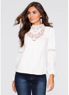 Must-Have-Shirt mit Spitze, BODYFLIRT, wollweiß